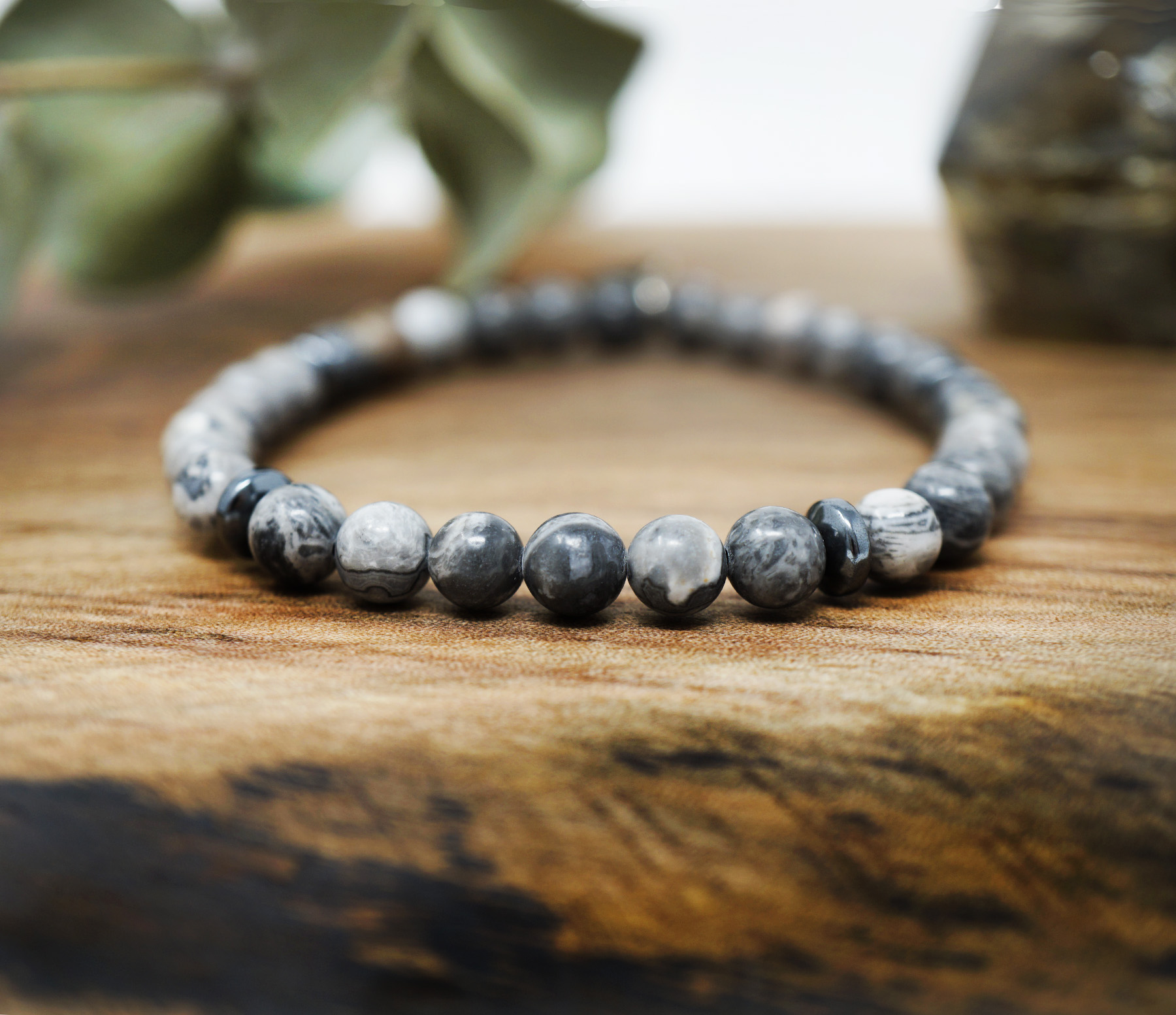 Jasper mens simple hematite bracelet