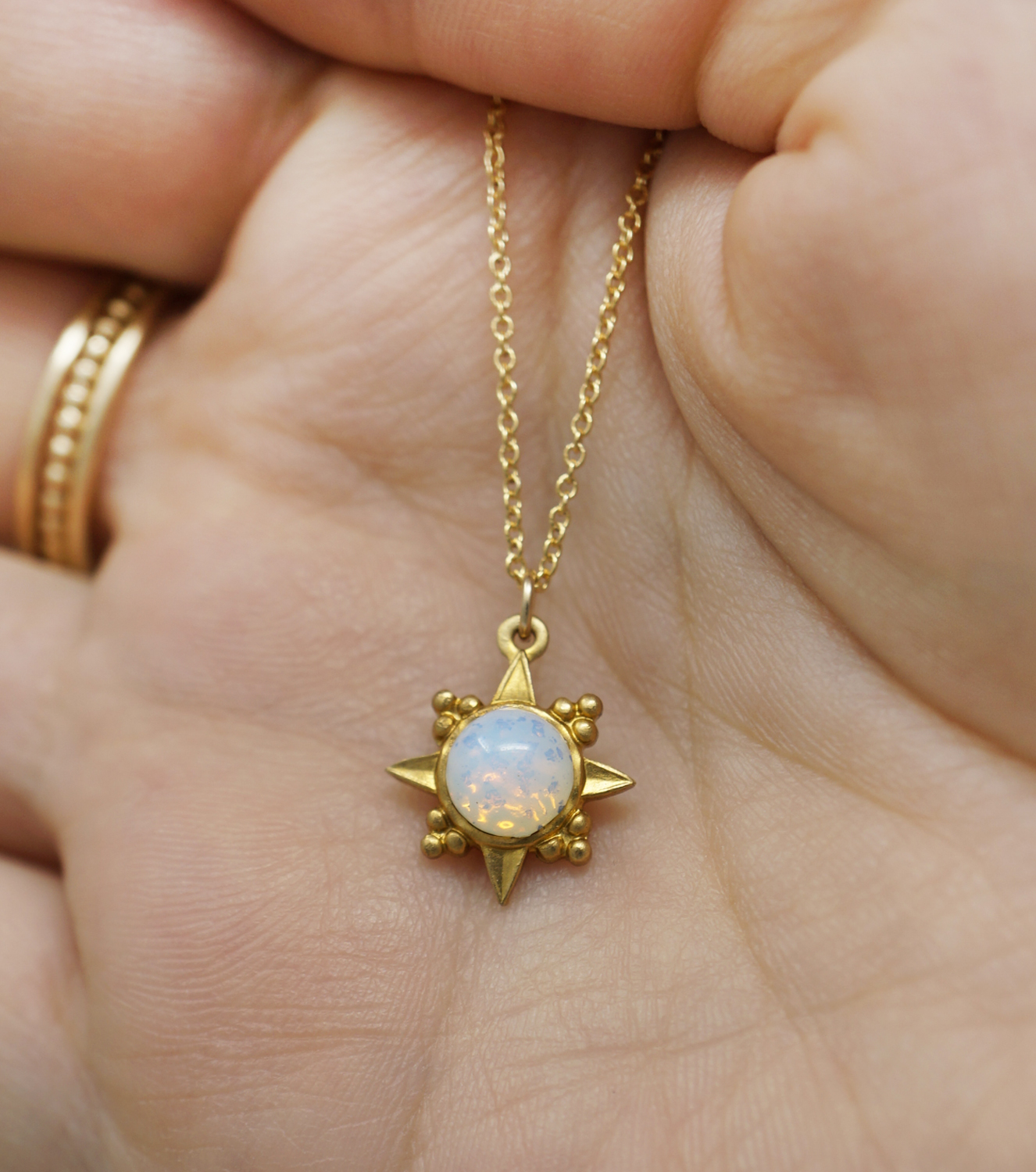 Vintage opal stardust necklace