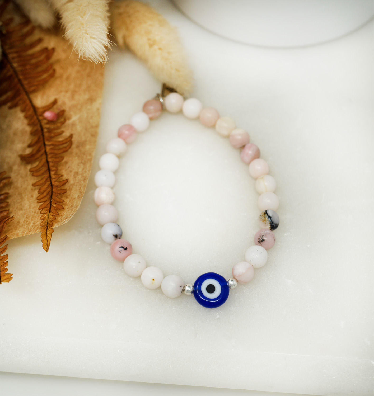 Pink Opal evil eye protector bracelet