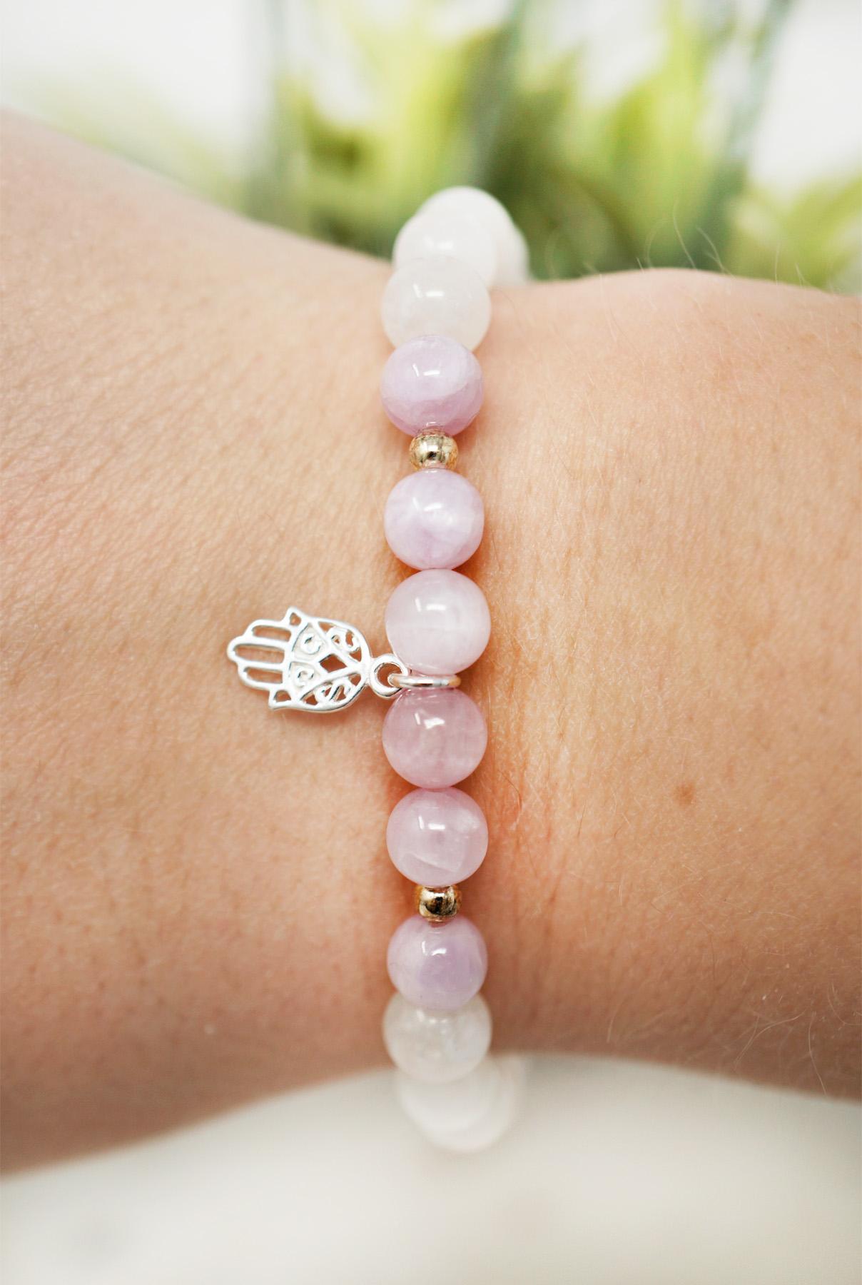 hamsa hand small kunzite bracelet