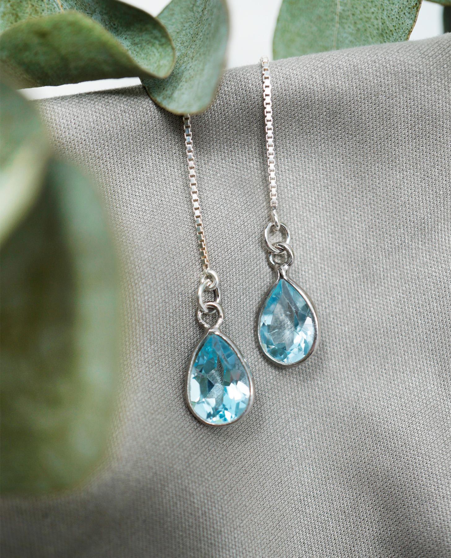 silver blue topaz threaders